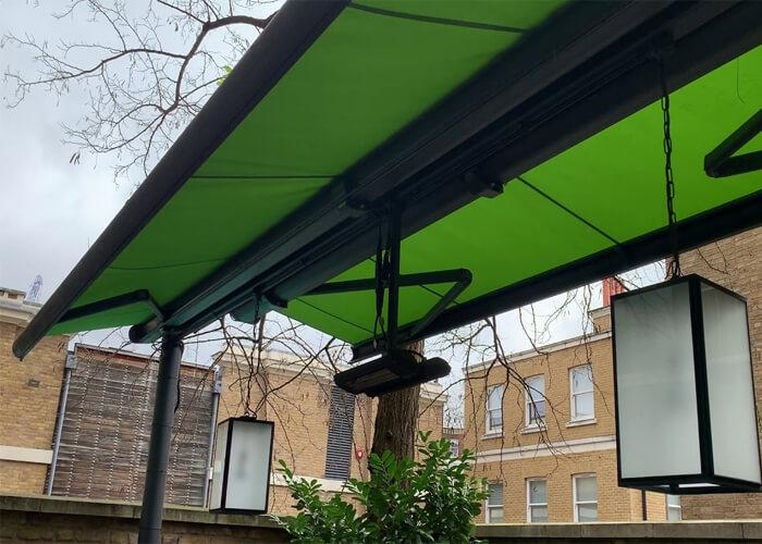 Butterfly Retractable Awning Two-Sided Free Standing Coffee Shop Canopy