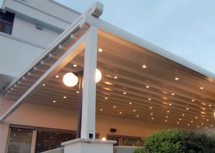 Motorized Outdoor waterproof recreation Aluminum pvc pergola Retractable roof Awnings (6)