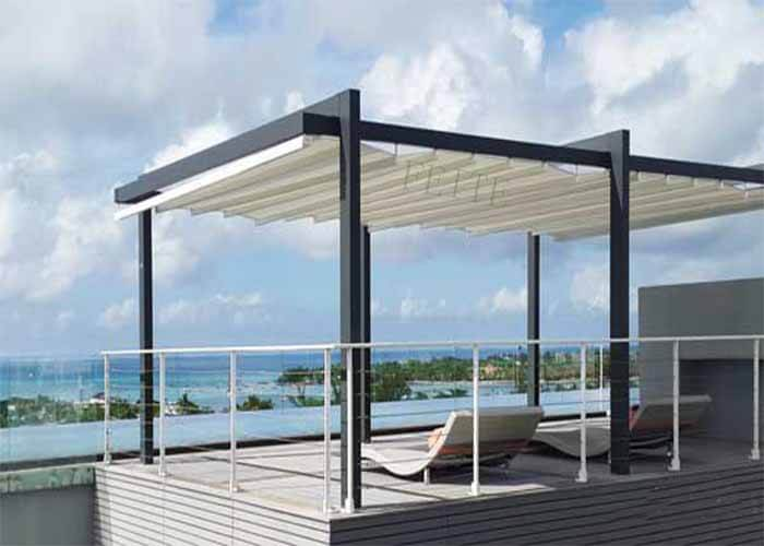 Outdoor Gazebo Aluminum Waterproof PVC Pergola With Led Light