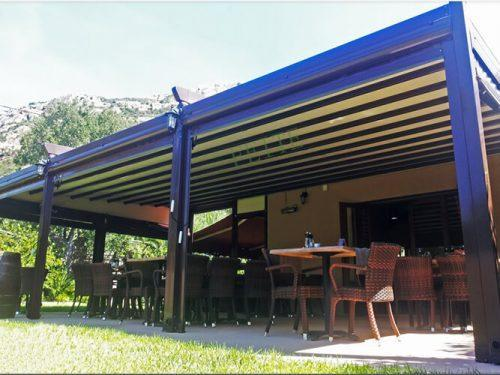 Pergola is a compact retractable roof system,adapted to aluminium structure.Contemporary and stylish,Silver Eco is an attractive addition to your outdoor area.With a selection of colors,materials and patterns which are imported from Europe and U.S,with up to 5 years guaranty against fading and mould.