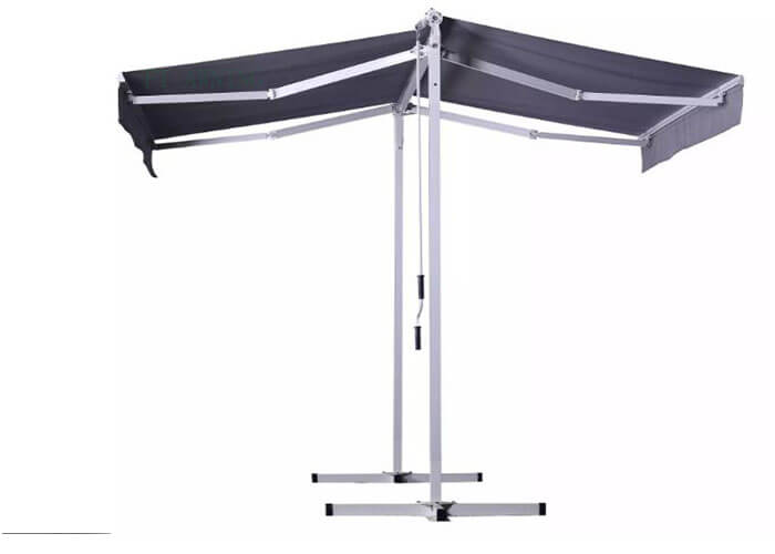 China Manual Aluminum Retractable Double side Free Standing Awning